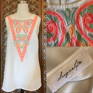 Sugarlips Neon Embroidered Top L
